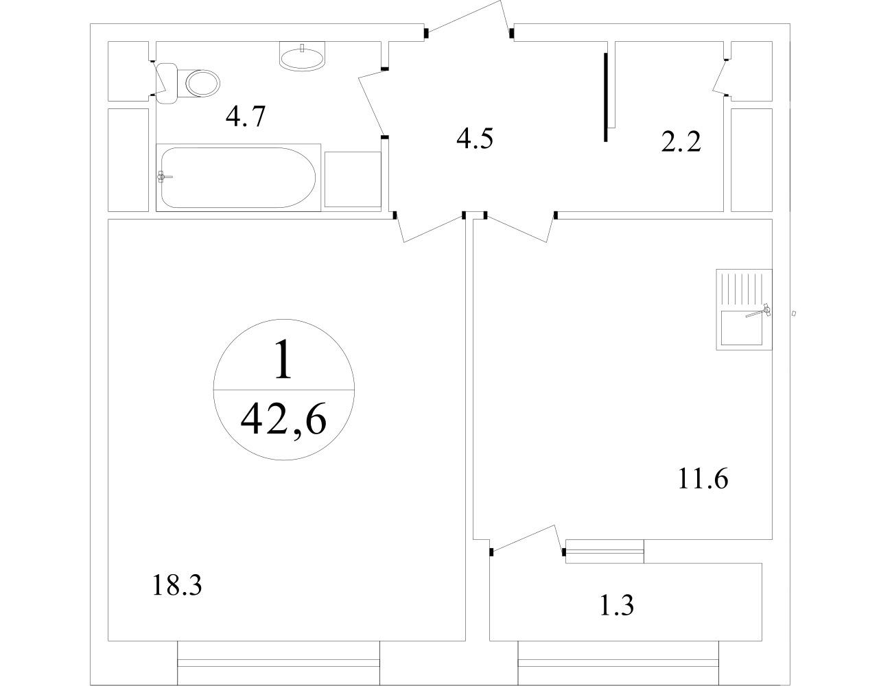 План 1-комн. 42.0 м²