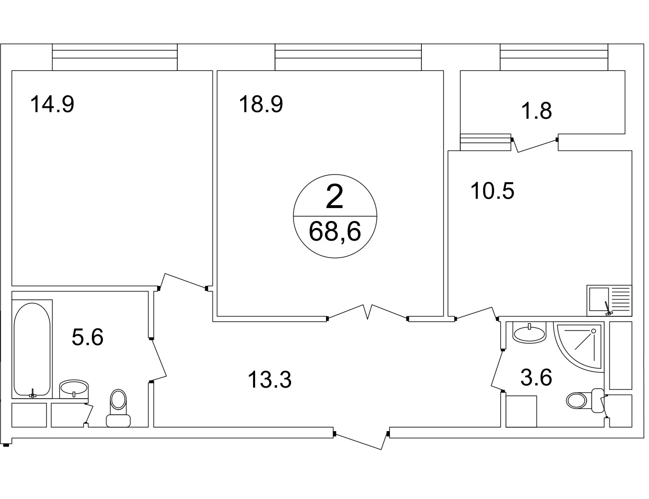План 2-комн. 68.0 м²