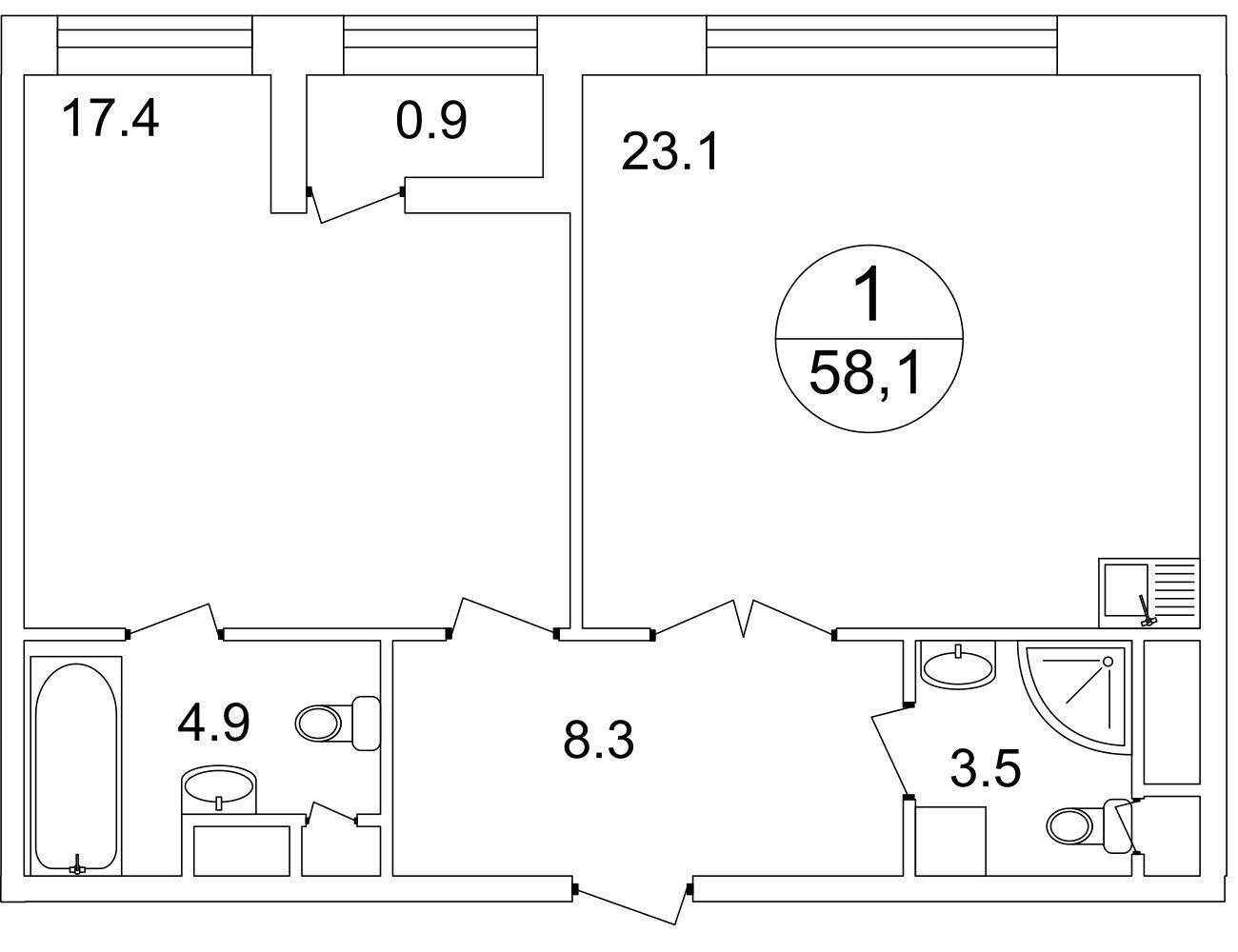 План 1-комн. 58.0 м²