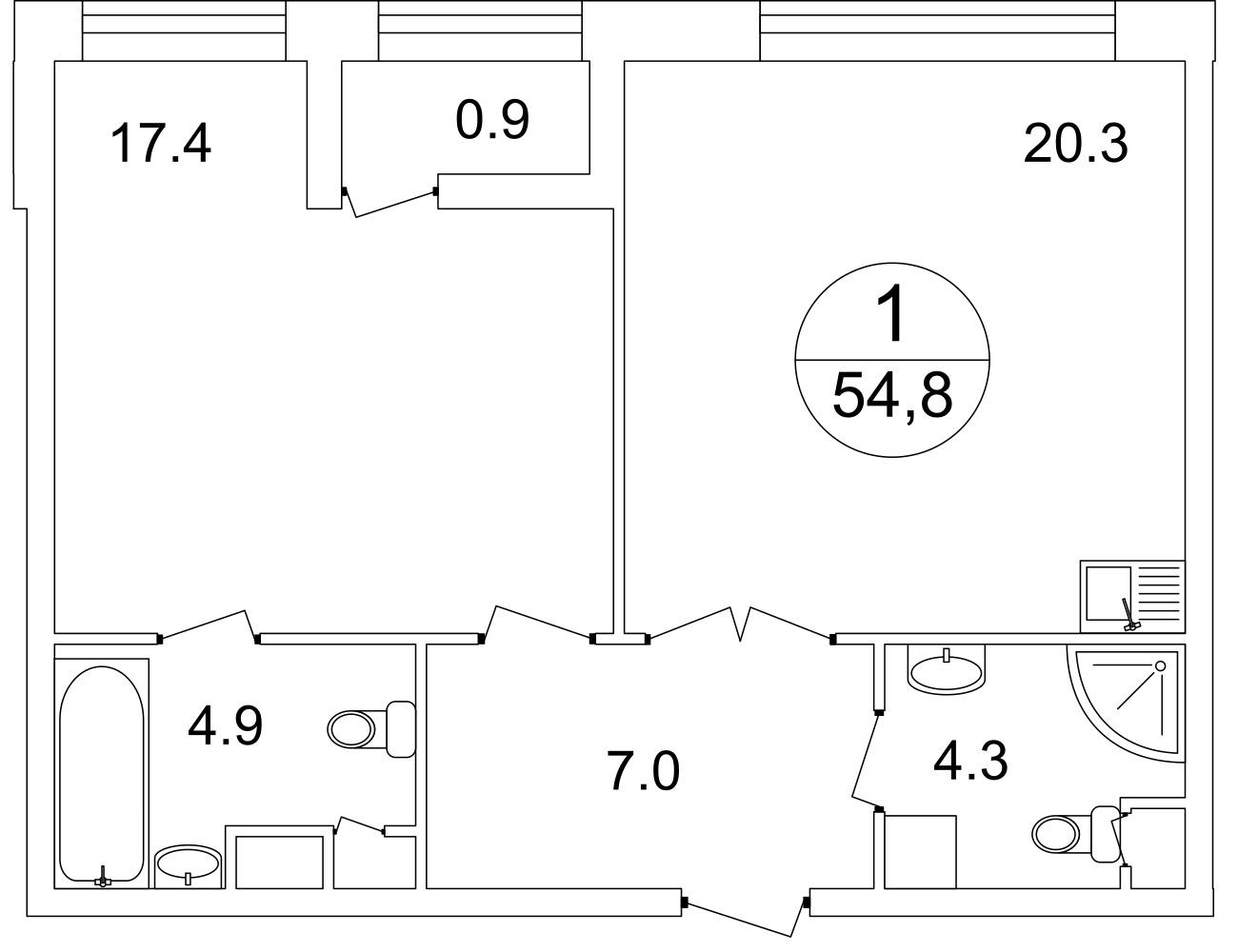План 1-комн. 54.0 м²