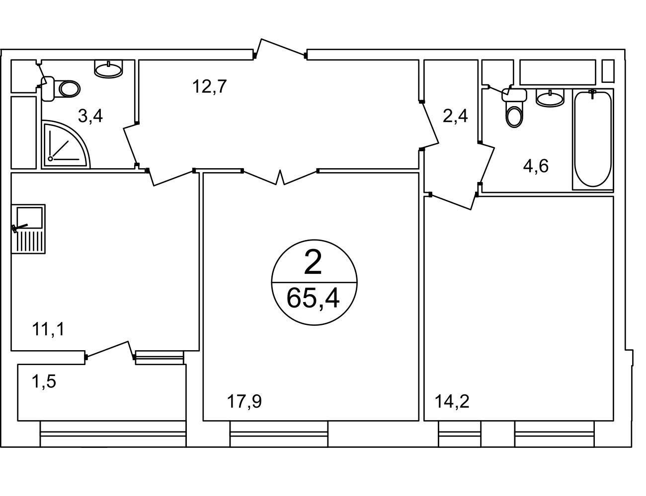План 2-комн. 65.0 м²