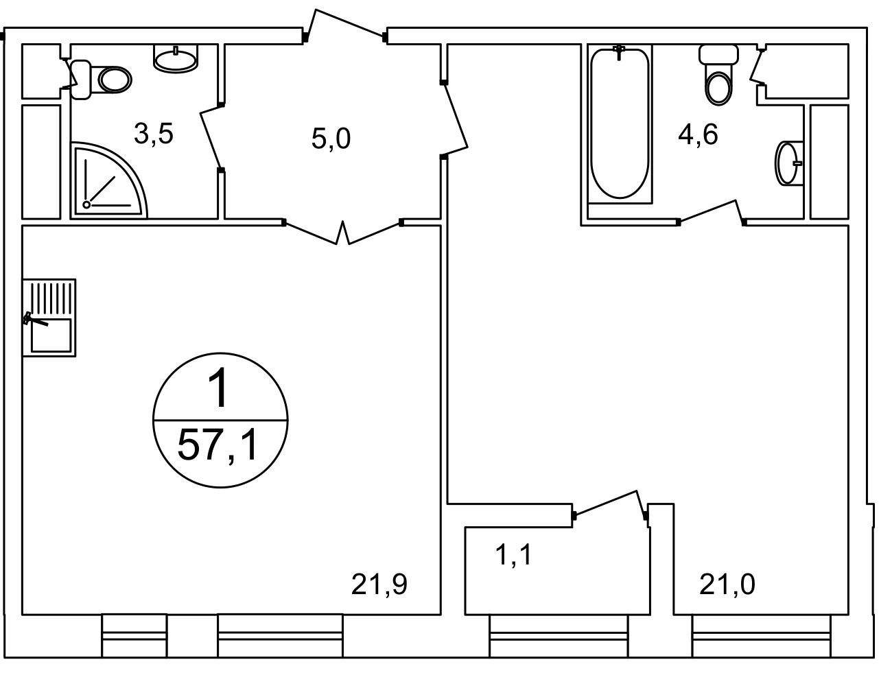 План 1-комн. 57.0 м²